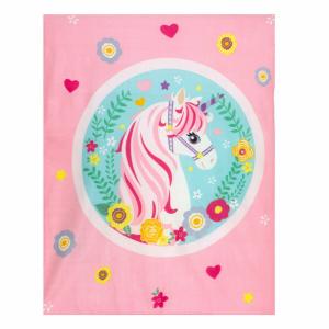 Plaid in pile 120x150 cm UNICORNO coperta rosa per bambine