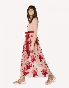 Abito in tulle point d'esprit con ricamo Floral Tapestry