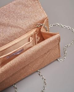Pochette a base rigida in tessuto effetto glitter color rame con piccola patta