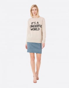 Pullover It's a wonderful world beige
