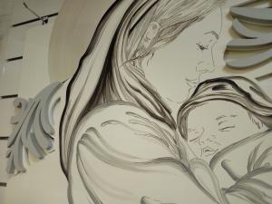 Quadro Capo letto moderno raffigurante Madonna con Bambino di grande dimensione cm. 125 x 90