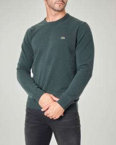 Maglia verde girocollo in pura lana