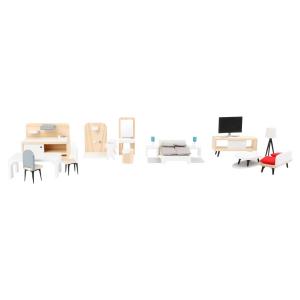 Set completo di mobili Casa delle bambole