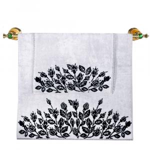 Asciugamano e ospite set 1+1 in spugna Carrara ROSALIN bianco e nero