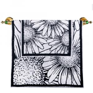 Asciugamano e ospite set 1+1 Carrara DAISY a fiori bianco e nero
