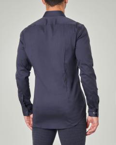 Camicia blu extra slim fit in popeline di cotone stretch