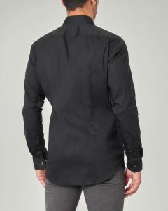 Camicia nera extra slim fit in popeline di cotone stretch