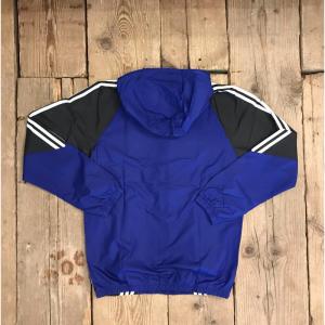 Giacca Adidas Insley con cappuccio Blu e Nera con Strisce Bianche