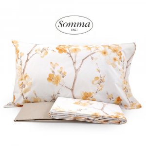 Set lenzuola matrimoniale 2 piazze SOMMA in percalle MADAME beige