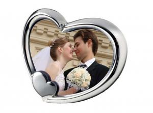 Portafoto cuore in silver plated cm.15,5x13x3h