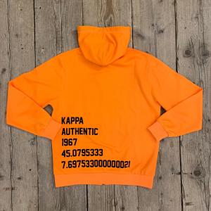 Felpa Kappa BPAWY Con Cappuccio e Full Zip Arancio