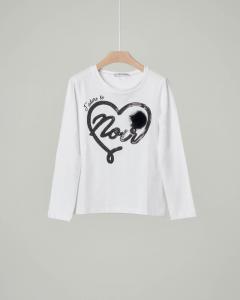 T-shirt bianca manica lunga con cuore e pon-pon nero 40-44