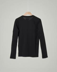 T-shirt nera manica lunga con logo aquila a specchio 10-16 anni