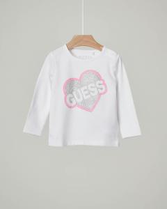T-shirt manica lunga con cuore logo e borchie applicate 9-24 mesi