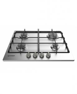 Indesit THP 642 IX/I Incasso Piano cottura a gas Nero, Acciaio inossidabile piano cottura