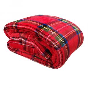 Plaid 130x160 DAUNEX TARTAN coperta rosso scozzese effetto agnellato