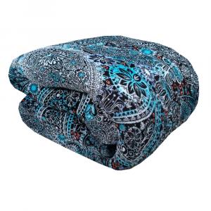 Plaid in pile 150x200 DAUNEX PAISLEY coperta turchese effetto agnellato