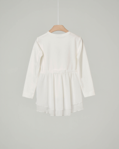T-shirt bianca manica lunga con balza sul retro in organza e fiocco stampato 6-12 anni