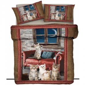 Copripiumino cotone Natale con stampa digitale Gatti Salotto