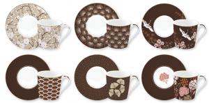 EASY LIFE SERVIZIO CAFFE' SET 6 TAZZINE CON PIATTINO IN SCATOLA REGALO LINEA COFFEE MANIA ORIENTAL 126#ORTL