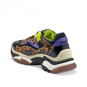 Sneakers -ASH-ADDICT- colore giallo viola e leopardo