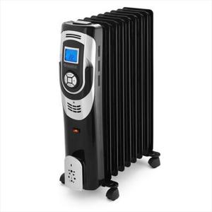 Radiatore ad olio dotato di comandi digitali e display LCD. La speciale progettazione degli elementi metallici e le aperture sui lati permettono una diffusione del caldo uniforme e garantiscono lunghi tempi di mantenimento del calore. Ideale per riscaldar