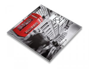 Beurer GS 203 London Bilancia pesapersone elettronica Quadrato Nero, Grigio, Rosso