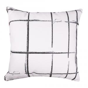 Dekoratives Trussardi Kissen 40x40 cm aus reiner SKETCH weißer Baumwolle