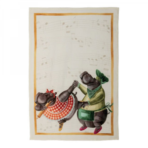 Strofinaccio da cucina Tessitura Toscana in puro lino Figaro-Ippopotami
