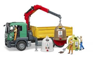 BRUDER 3753 - Man TGS-Camion con Gru di carico e Contenitore in Vetro Anticato