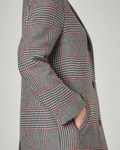 Cappottino in misto lana a fantasia Principe di Galles nero e bianco con righina rossa