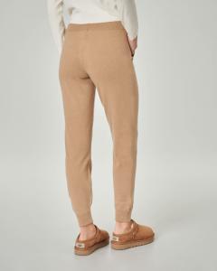 Joggers color cammello in lana misto viscosa con fascia elastica in vita