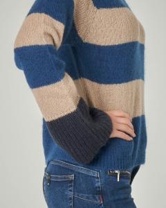 Maglia in lana e mohair con motivo a righe beige e avio con polsini a contrasto