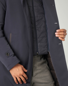 Cappotto blu in cordura con davantino staccabile