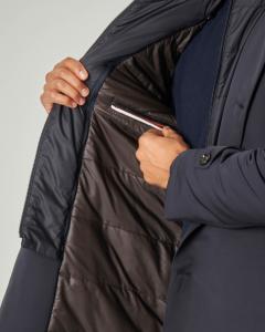 Cappotto blu in cordura con davantino staccabile