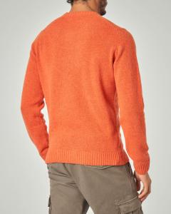 Maglia girocollo arancione in lana sulla finezza 7