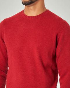 Maglia girocollo rossa in lana sulla finezza 7