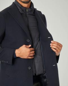 Cappotto blu in lana con davantino in nylon staccabile