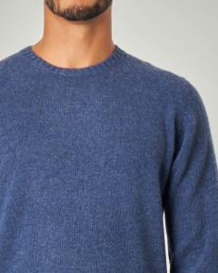 Maglia girocollo blu indaco in lana sulla finezza 7