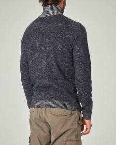 Dolcevita blu melange in misto cotone e lana
