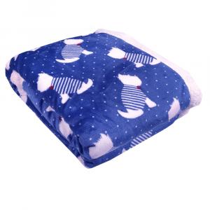 Plaid in pile 130x160 DAUNEX BARBONCINO blu coperta effetto agnellato