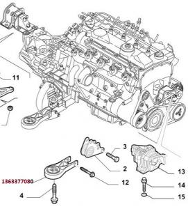 Supporto motore Fiat Ducato 2,3JTD, 1363377080