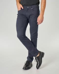 Pantalone cinque tasche blu micro-armatura con toppa