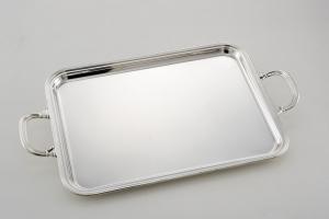 Vassoio rettangolare placcato argento con bordo stile Inglese cm.55x41