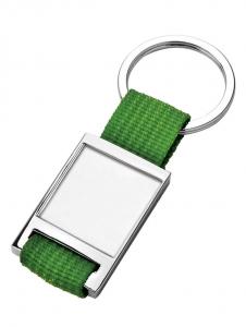 Portachiavi con piastrina e tessuto verde cm.8,7x3,5x0,7h