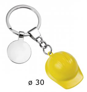Portachiavi elmetto giallo e piastrina cm.9,8x3,5x1,5h