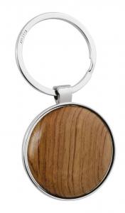 Portachiavi tondo con legno cm.7,8x4,1x0,8h