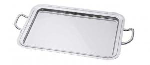 Vassoio bar rettangolare in acciaio inox placcato argento con manici cm.65x50
