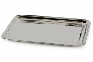 Vassoio rettangolare da portata in acciaio inox cm.32x25x1,5h