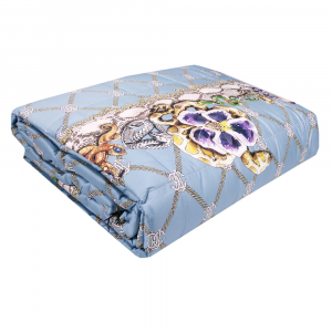 ROBERTO CAVALLI quilted bedspread 2 squares NEW SPIDER light blue